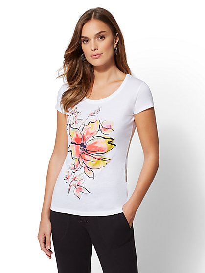 Floral Graphic Tee - New York & Company