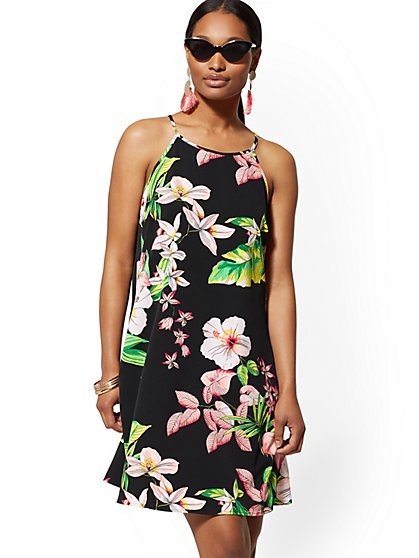 Floral Halter Swing Dress - New York & Company
