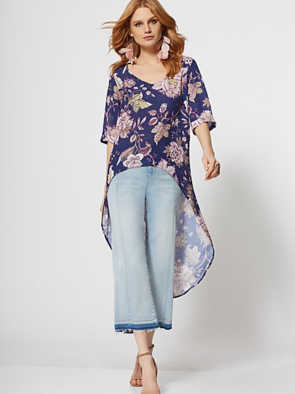 Floral Hi-Lo Blouse - Sweet Pea - New York & Company