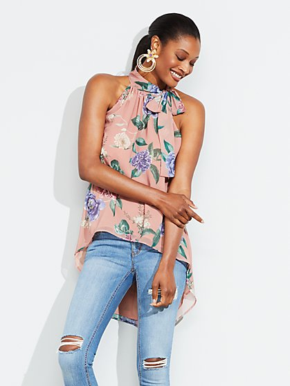 Floral Hi-Lo Halter Blouse - New York & Company