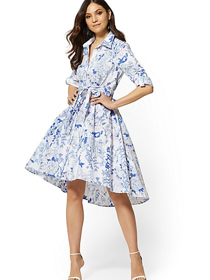 Floral Hi-Lo Poplin Shirtdress - New York & Company