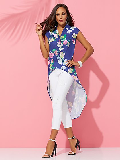 Floral Hi-Lo Tunic Shirt - Sweet Pea - New York & Company