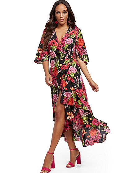 Floral Hi-Lo Wrap Maxi Dress - New York & Company