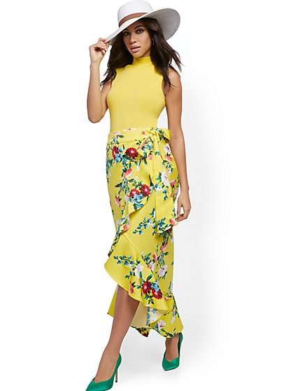 Floral Hi-Lo Wrap Skirt - New York & Company