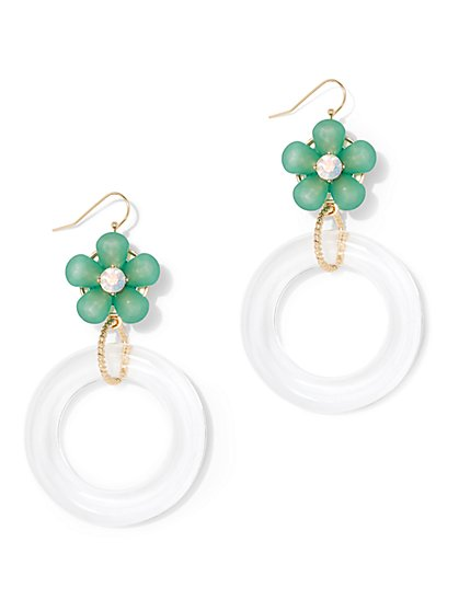 Floral Hoop Drop Earring - New York & Company