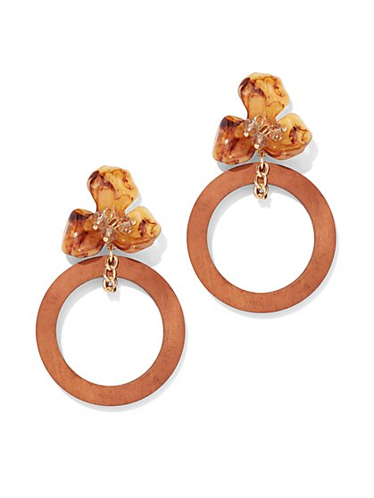 Floral Hoop Drop Statement Earring - New York & Company