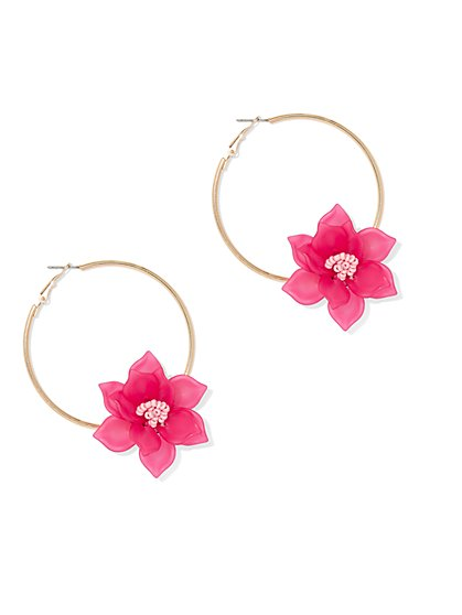 Floral Hoop Earring - New York & Company