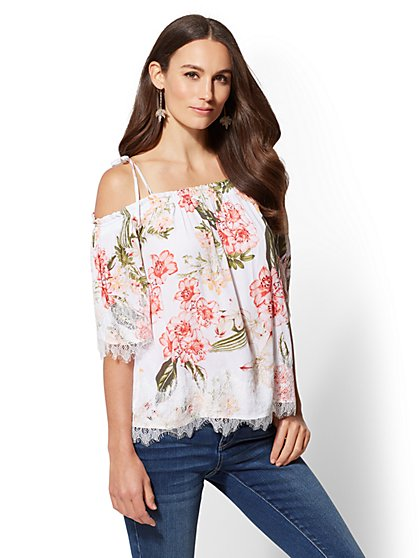 Floral Lace-Trim Off-The-Shoulder Blouse - New York & Company