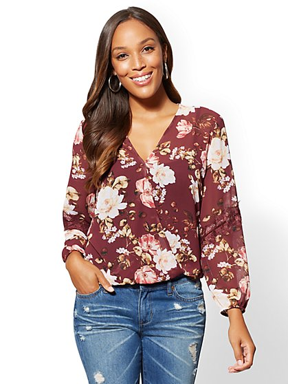 Floral Lace-Trim Wrap Blouse - New York & Company