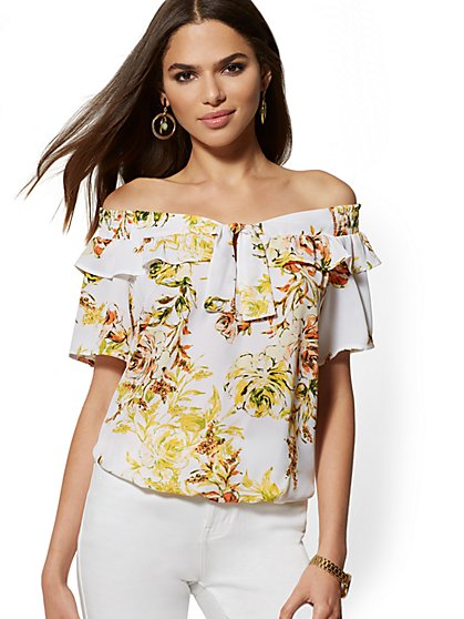 Floral Off-The-Shoulder Tie-Front Blouse - New York & Company