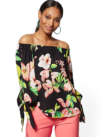 cd4cdebf632973 Floral Off-The-Shoulder Tie-Sleeve Blouse - 7th Avenue - New York ...