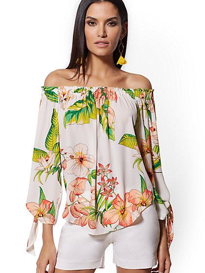 Floral Off-The-Shoulder Tie-Sleeve Blouse - 7th Avenue - New York & Company
