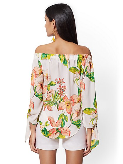 d284e7c2a026b ... Floral Off-The-Shoulder Tie-Sleeve Blouse - 7th Avenue - New York ...