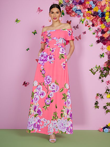 Floral Off-the-Shoulder Ruffle-Top Maxi Dress - New York & Company