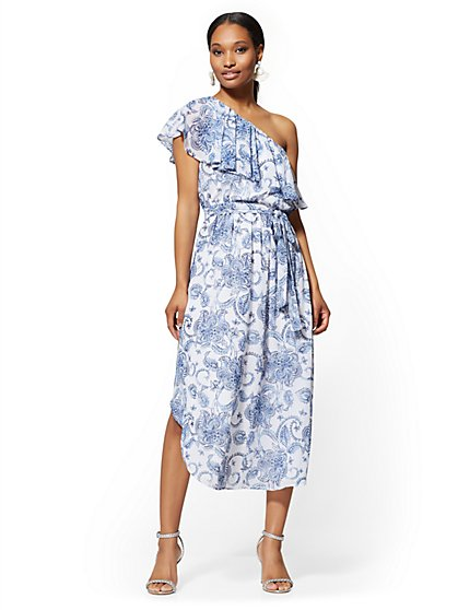 3e0c002702 Floral One-Shoulder Midi Dress - New York   Company ...
