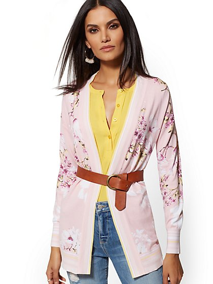 Floral Open-Front Cardigan - New York & Company