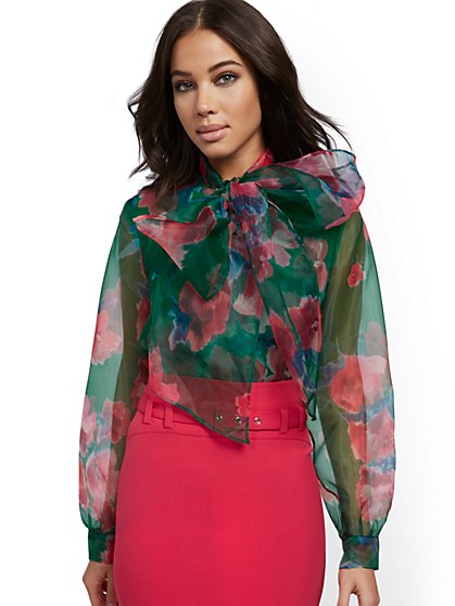 Floral Organza Bow Blouse - New York & Company