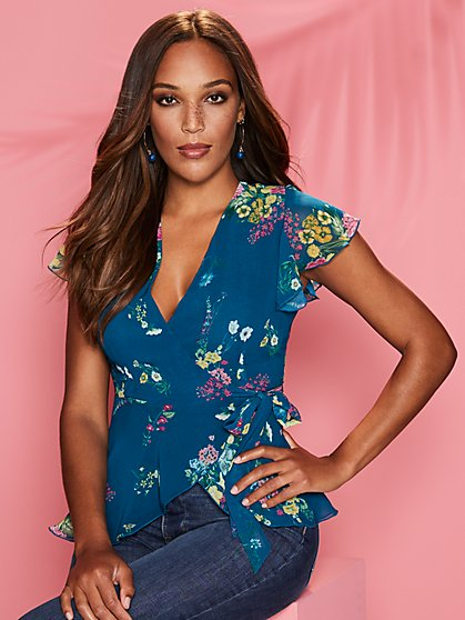 Floral Peplum Wrap Blouse - Sweet Pea - New York & Company