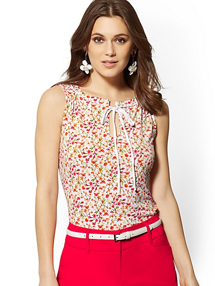 Floral Piped & Tie-Detail Sleeveless Top - 7th Avenue - New York & Company