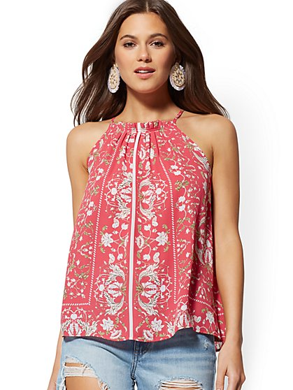 Floral Pleated Halter Blouse - New York & Company