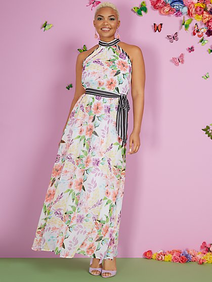 Floral-Print Halter Maxi Dress - New York & Company