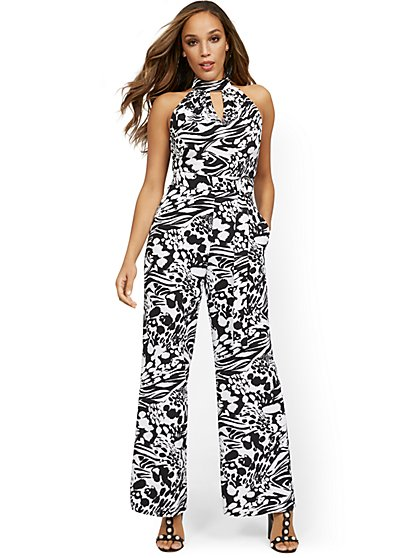 Floral-Print Halter Wide-Leg Jumpsuit - New York & Company
