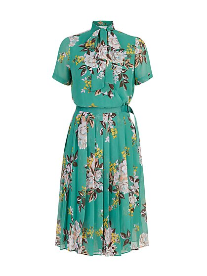 Floral-Print Pleated Bow-Front Dress - The NY&C Legacy Collection - New York & Company