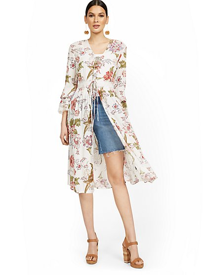Floral-Print Sheer Lace-Up Kimono Top - New York & Company