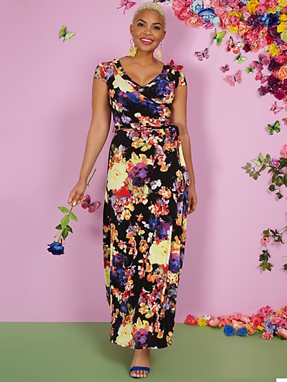 Floral-Print Short-Sleeve V-Neck Maxi Dress - New York & Company