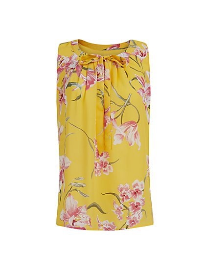 Floral Print Sleeveless Top - New York & Company