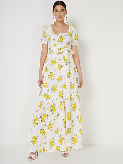 Floral-Print Square-Neck Puff-Sleeve Maxi Dress - New York & Company