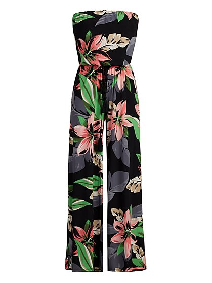 Floral Print Strapless Jumpsuit - New York & Company