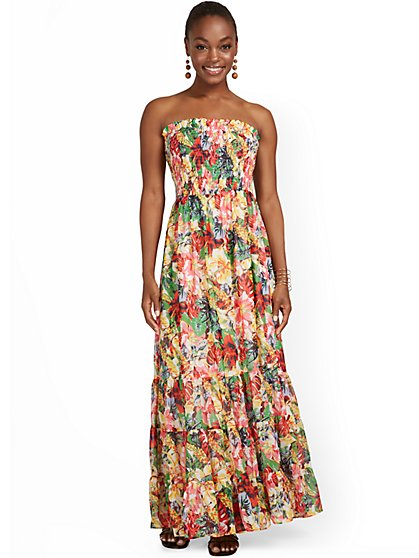 Floral-Print Strapless Maxi Dress - New York & Company
