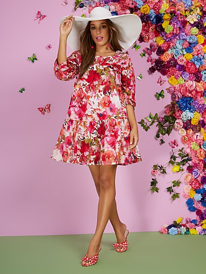 Floral-Print Tiered Babydoll Dress - New York & Company