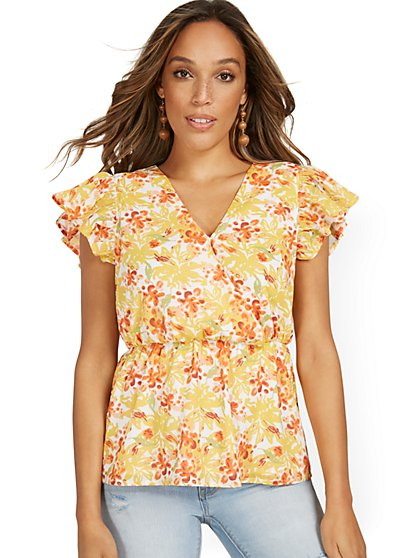 Floral-Print Wrap Peplum Top - New York & Company
