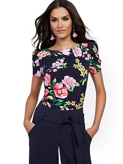 Floral Ruched Puff-Sleeve Top - 7th Avenue - New York & Company