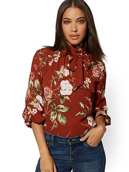 Floral Ruched-Sleeve Tie-Neck Blouse - New York & Company