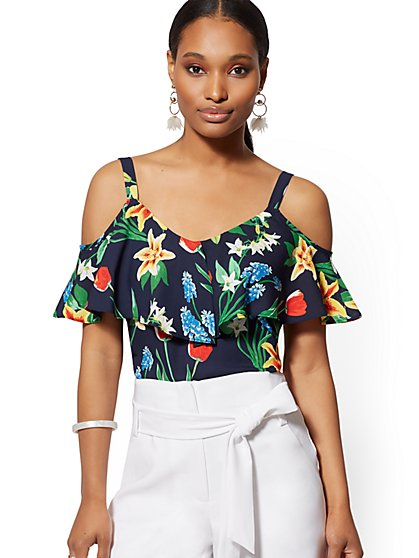 306fe0f7ad04a Floral Ruffled Cold-Shoulder Blouse - 7th Avenue - New York   Company ...