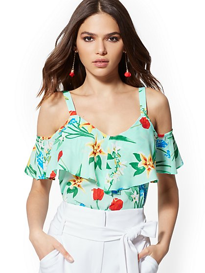 1ea131b77cb6e Floral Ruffled Cold-Shoulder Blouse - 7th Avenue - New York   Company ...