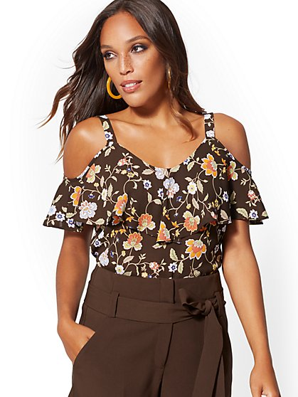 Floral Ruffled Cold-Shoulder Blouse - 7th Avenue - New York & Company