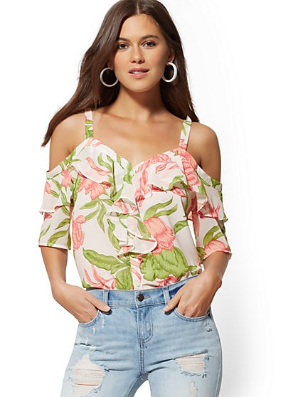 Floral Ruffled Cold-Shoulder Blouse - Soho Soft Shirt - New York & Company