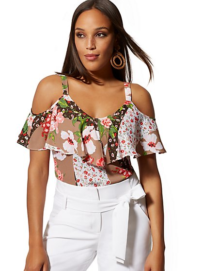 Floral Ruffled Cold-Shoulder Blouse - New York & Company