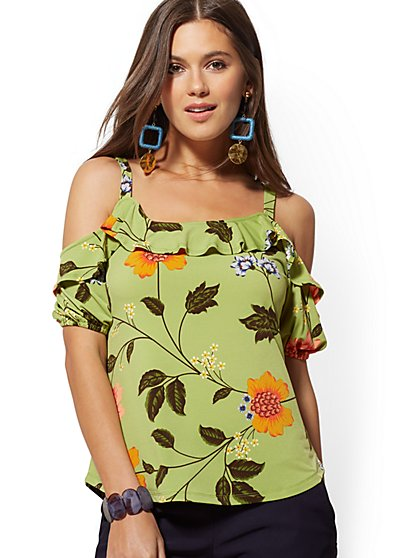 Floral Ruffled Cold-Shoulder Top - 7th Avenue - New York & Company