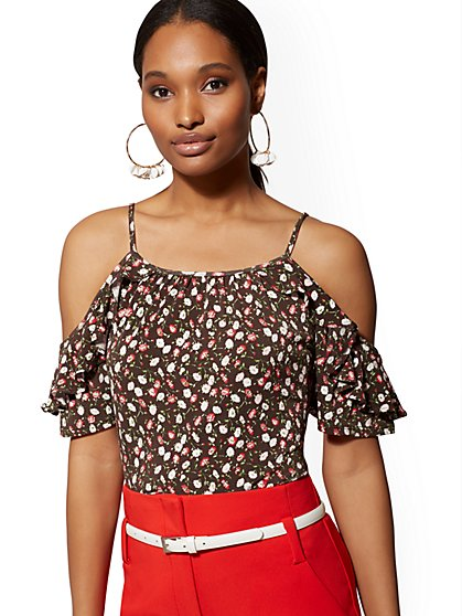 Floral Ruffled Cold-Shoulder Top - New York & Company