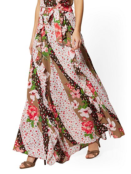 Floral Ruffled Maxi Skirt - New York & Company