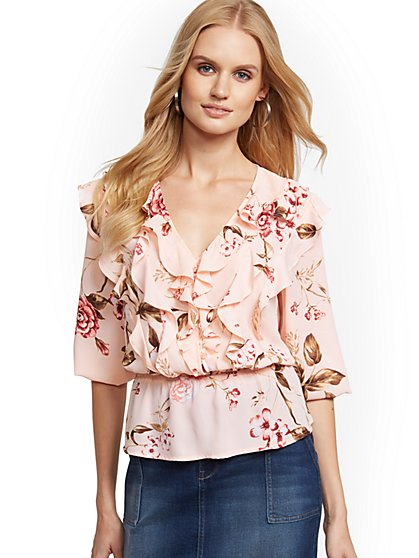 Floral Ruffled Peplum Top - Soho Soft Blouse - New York & Company