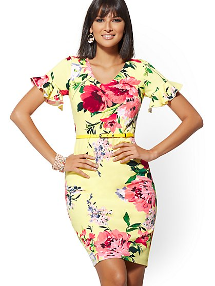 Floral Ruffled-Sleeve Belted Sheath Dress - Magic Crepe - New York & Company