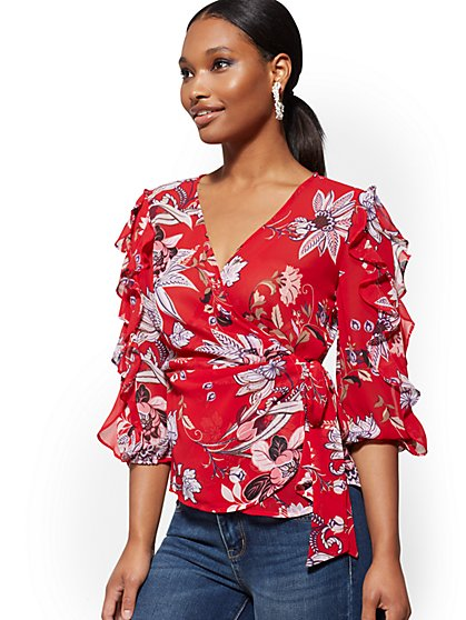 Floral Ruffled Wrap Blouse - New York & Company