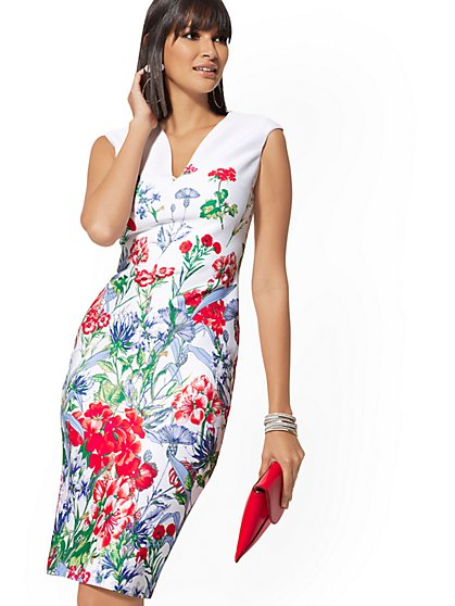 1f0dbf53e814 Floral Scuba Sheath Dress - 7th Avenue - New York   Company ...