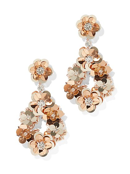 Floral Sequin Drop Earring - New York & Company